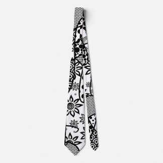 Black & White Pattern Patchwork 03 Tie