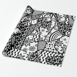 Black & White Pattern Patchwork 03 Wrapping Paper