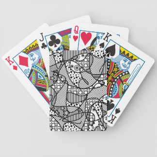 Black & White Pattern Patchwork 04 Bicycle Playing Cards