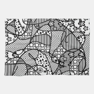Black & White Pattern Patchwork 04 Kitchen Towel