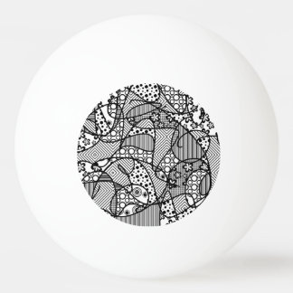 Black & White Pattern Patchwork 04 Ping Pong Ball