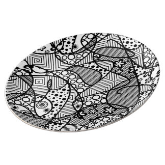 Black & White Pattern Patchwork 04 Porcelain Plate