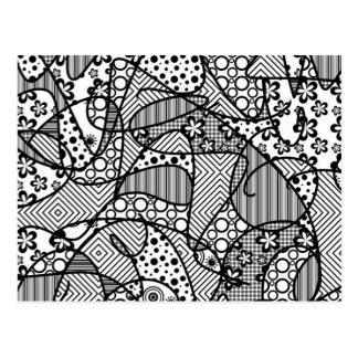 Black & White Pattern Patchwork 04 Postcard