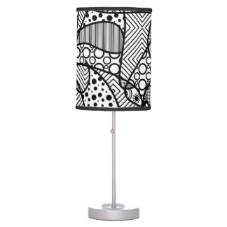 Black & White Pattern Patchwork 04 Table Lamp