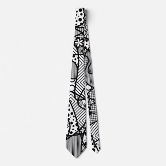 Black & White Pattern Patchwork 04 Tie
