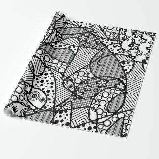 Black & White Pattern Patchwork 04 Wrapping Paper