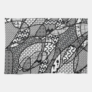Black & White Pattern Patchwork 05 Kitchen Towel