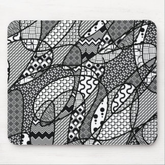 Black & White Pattern Patchwork 05 Mouse Pad