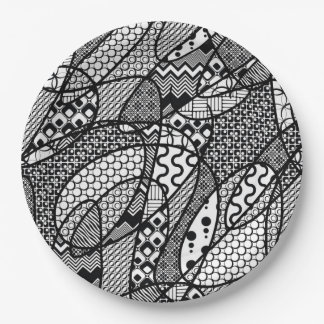 Black & White Pattern Patchwork 05 Paper Plate