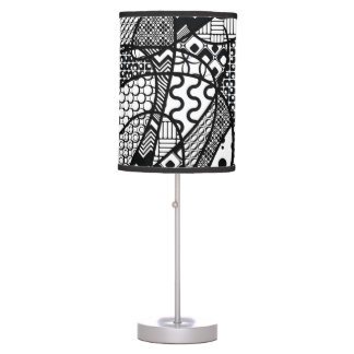 Black & White Pattern Patchwork 05 Table Lamp
