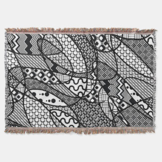 Black & White Pattern Patchwork 05 Throw Blanket