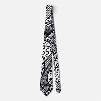 Black & White Pattern Patchwork 05 Tie