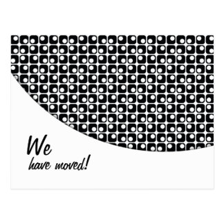 "Black-&-White Pattern ""We've Moved"" Announcements Postcard"