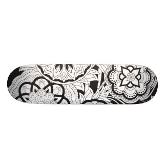 black&white pattern with sends them skate board deck