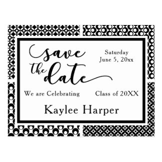 Black & White Patterns Graduation Save the Date Postcard