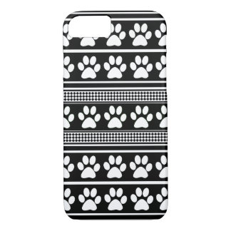 Black white paw print pattern iPhone 7 case