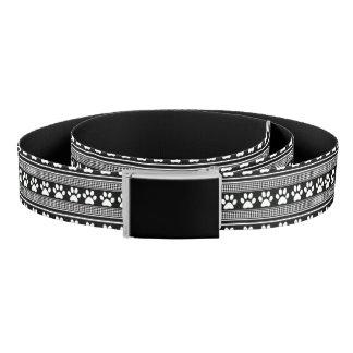 Black white paw prints belt