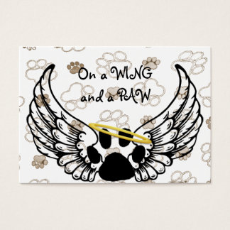 Black White Paw Wings Pet Care Business Card