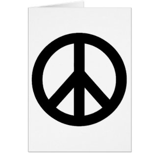 Black White Peace Sign Symbol Card