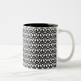 Black & White Peace Signs Two-Tone Coffee Mug