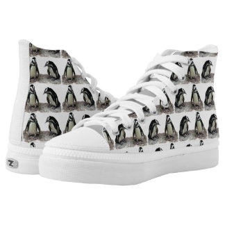 Black White Penguin Birds High Top Printed Shoes