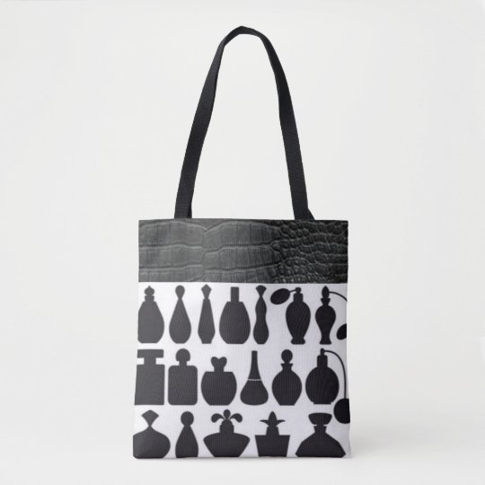 Black White Perfumes Bottles Leather Pattern Print Tote Bag