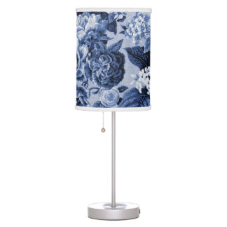 Black White Periwinkle Blue Botanical Floral Toile Table Lamp