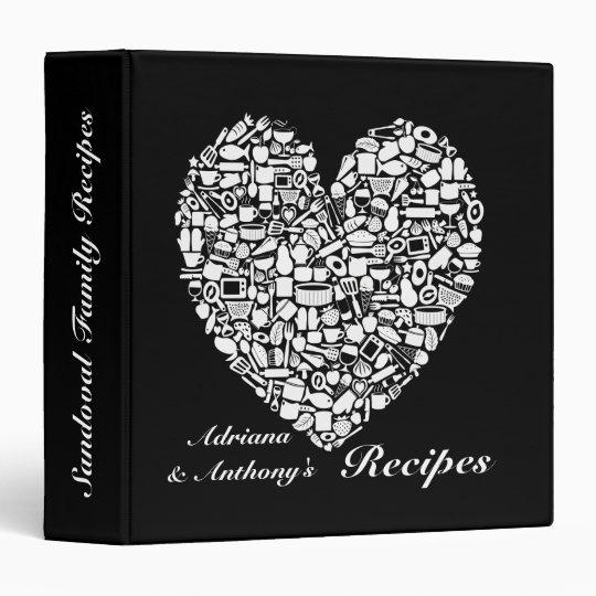 Black & White Personalized Kitchen Recipe Binder