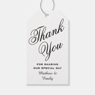 Black & White Personalized Thank You Wedding Favor Gift Tags