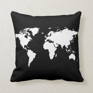 black/white personalized world-map throw pillow
