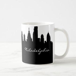 Black & White Philadelphia City Skyline Coffee Mug
