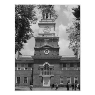 Black & White Photograph Independence Hall Philly Poster