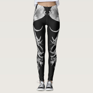Black & White Photographic Feather Art Leggings