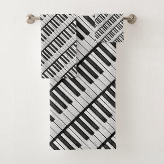 Black & White Piano Keys Bath Towel Set