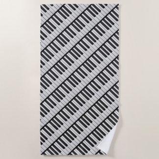 Black & White Piano Keys Beach Towel