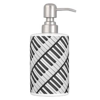 Black & White Piano Keys Soap Dispenser And Toothbrush Holder