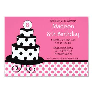 Black, White & Pink Cake Birthday Invitation