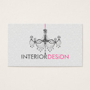 Black chandeliers business cards business card printing zazzle ca black white pink chandelier interior design business card reheart Gallery