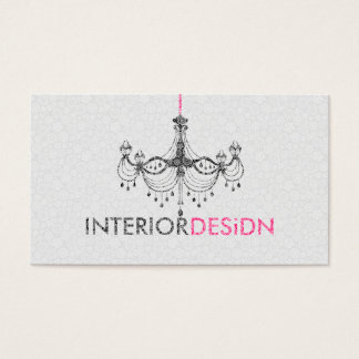 Black White& Pink Chandelier Interior Design Business Card