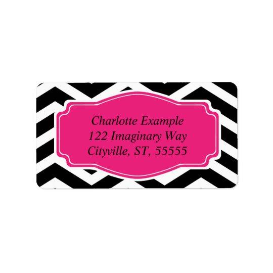 Black White Pink Chevron Personal Label