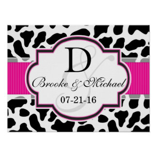 Black, White, & Pink Cowhide Wedding Poster
