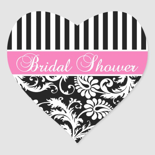 Black, White, PInk Damask Bridal Shower Sticker