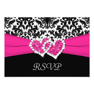 Black White Pink Damask Hearts Reply Card Custom Announcement