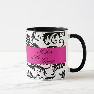 Black, White, Pink Damask Mother of the Groom Mug