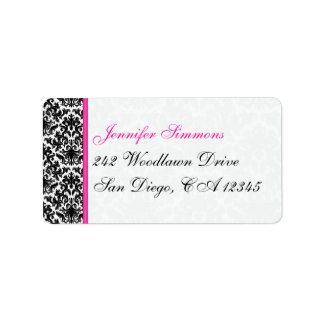 Black White Pink Damask Return Address Label