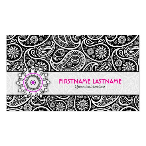 Black White & Pink Elegant Paisley Pattern Business Card Template