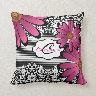 Black, White &  Pink Floral Damask & Stripes Throw Pillow