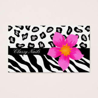 Black, White, Pink & Grey Zebra & Cheetah Skin Business Card