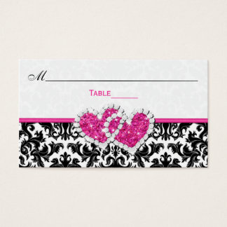 Black, White, Pink Joined Hearts Damask Place Card