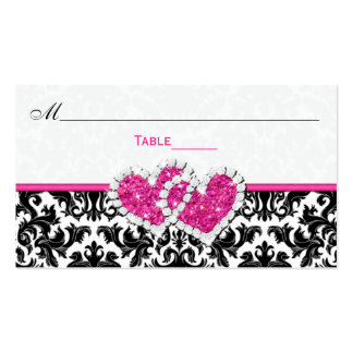 Black, White, Pink Joined Hearts Damask Place Card Pack Of Standard Business Cards
